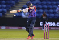 England's Sam Billings hits out off the bowling of Sri Lanka's Binura Fernando during the second T20 international cricket match between England and Sri Lanka in Cardiff, Wales, Thursday, June 24, 2021. (AP Photo/Alastair Grant)