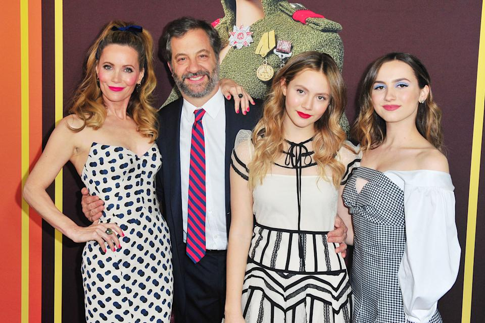 HOLLYWOOD, CA - DECEMBER 10: (L-R) Leslie Mann, Judd Apatow, Iris Apatow and Maude Apatow attend Universal Pictures and DreamWorks Pictures' Premiere of 'Welcome To Marwen' at ArcLight Hollywood on December 10, 2018 in Hollywood, California.  (Photo by Jerod Harris/WireImage)