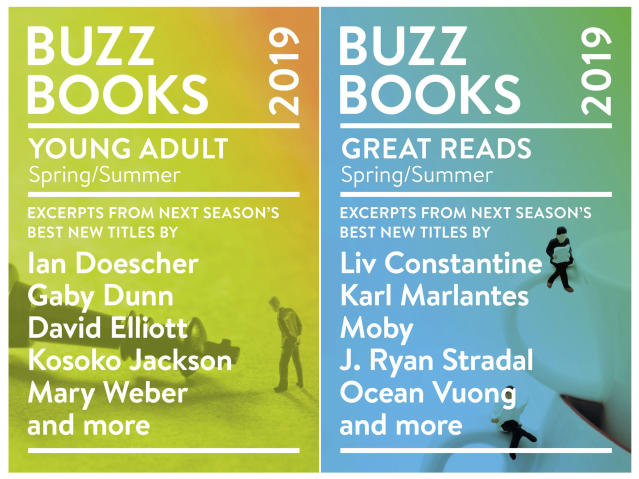 """This combination of book cover images released by Publishers Lunch shows """"Buzz Books: Young Adult Spring/Summer,"""" includes new fiction from best-seller Mary Weber and debut author Crystal Smith, left, and """"Buzz Books 2019: Spring/Summer"""" which includes new fiction by Nell Zink and T.C. Boyle, a memoir by musician Moby and the first novel by poet Ocean Vuong. (Publishers Lunch via AP)"""