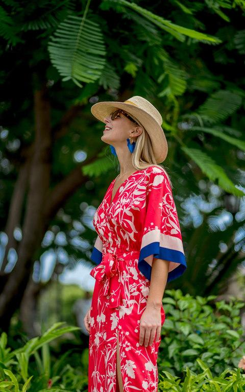Ella Windsor in Granada, wearing kimono dress, £599, Borgo de Nor, fringed earrings, £50, Baublebar, and straw hat, £199, Borsalino, all Fenwick (fenwick.co.uk) - Credit: Carlos Laguna