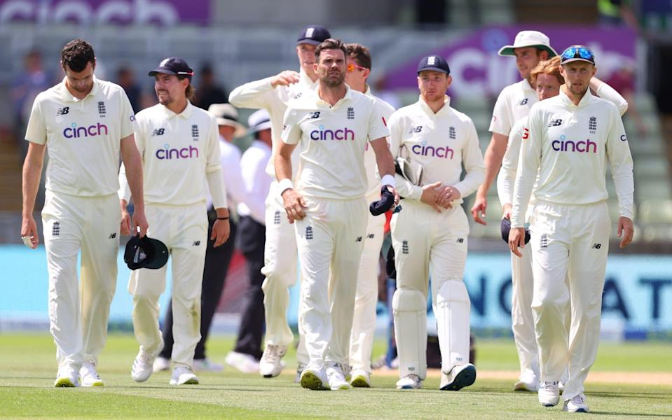 Players of England led by Joe Root make their way off following Day Four of the Second Test LV= Insurance Test Series match between England and New Zealand at Edgbaston on June 13 - GETTY IMAGES