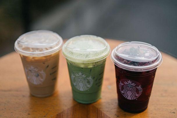 PHOTO: Three drinks with strawless recyclable lids from Starbucks. (Starbucks)