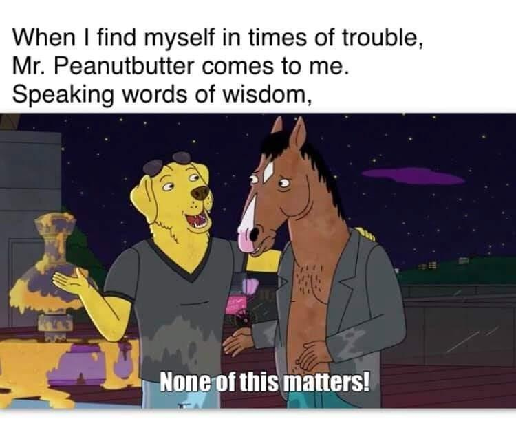 """When I find myself in times of trouble, Mr. Peanutbutter comes to me. Speaking words of wisdom"
