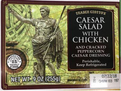 Health officials are advising the public to throw away dozens of salad and sandwich products like this one sold by Trader Joe's over a potential parasite. (Photo: fsisusdagov)