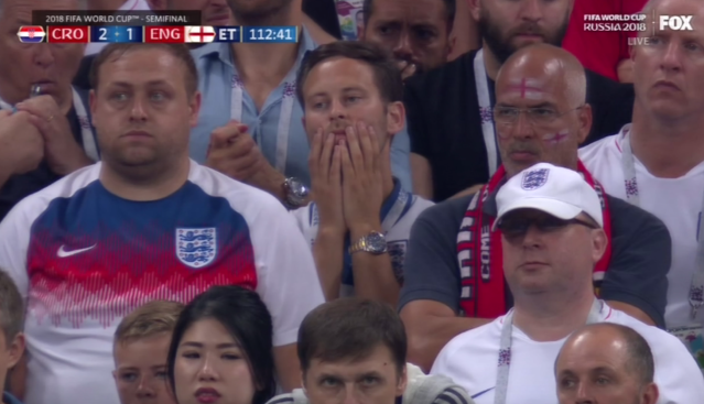 The dejection on England fans' faces after Croatia took the lead. (Via Fox)