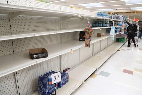 Shelves at a grocery store in Maryland are nearly empty. Photo: Getty Images/AFP