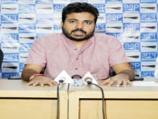 Durgesh Pathak, AAP party senior leader and party's MCD in-charge during a press conference in New Delhi on Tuesday. (Photo/ANI)