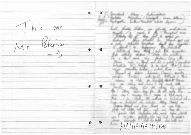 A handwritten note found in the bedroom of Kyle Davies