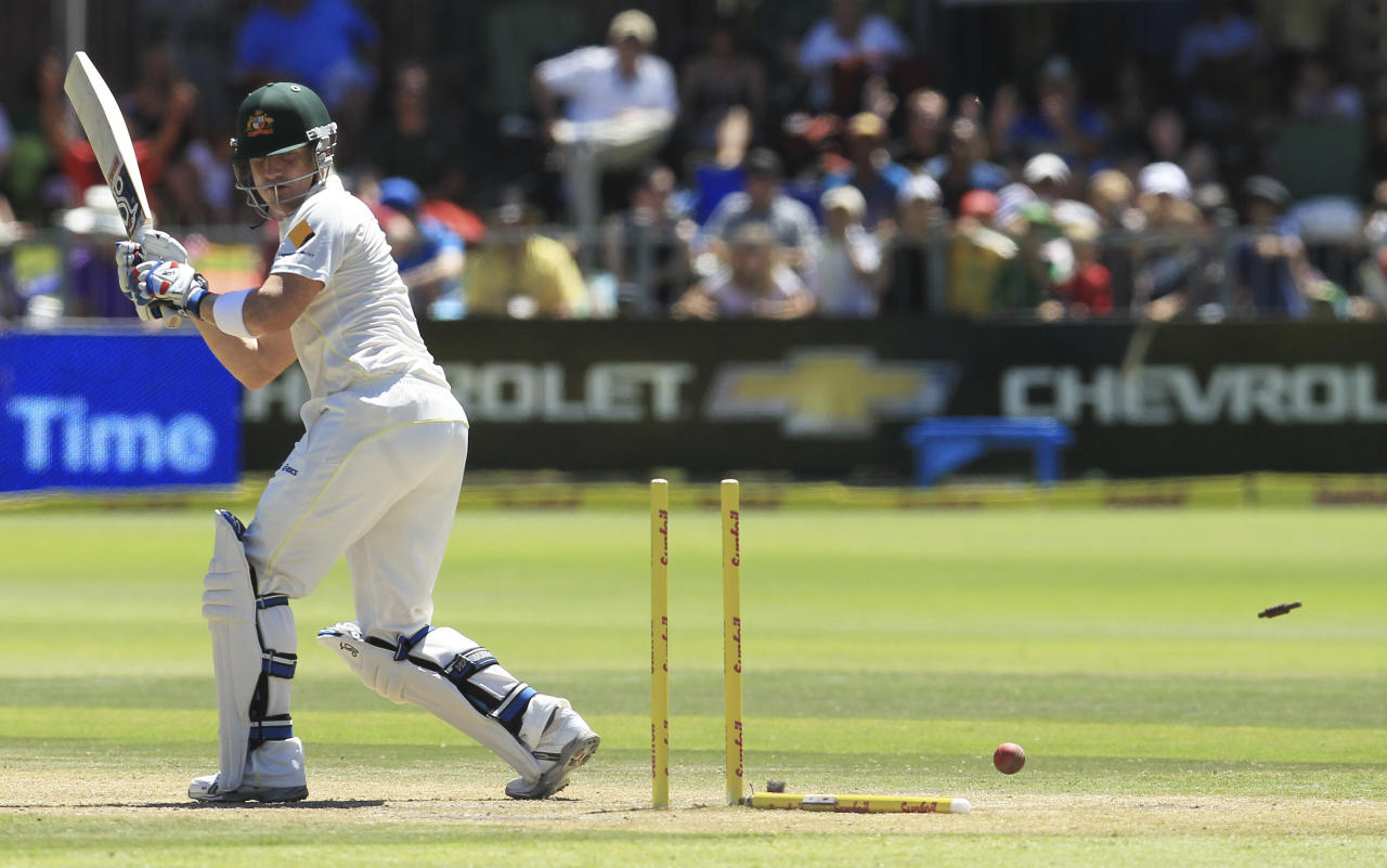 Australia's batsman Brad Haddin is bowled by South Africa's bowler Dale Steyn, for 9 runs on the third day of their 2nd cricket test match against South Africa at St George's Park in Port Elizabeth, South Africa, Saturday, Feb. 22, 2014. (AP Photo/ Themba Hadebe)