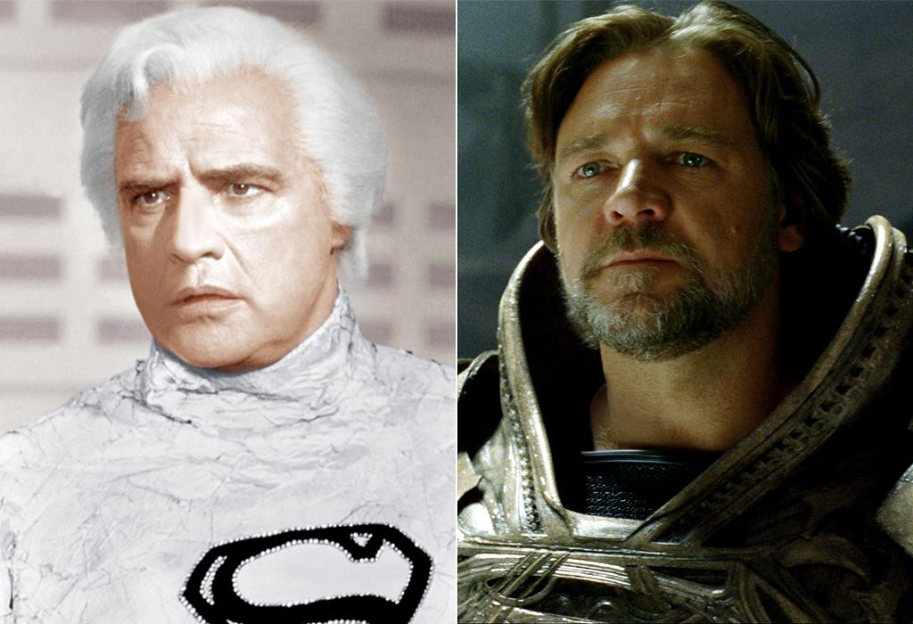 """<p class=""""MsoNoSpacing""""><b>JOR-EL</b></p>    <p class=""""MsoNoSpacing"""">Marlon Brando is dressed head to toe in white as Kal-El's father, perhaps foreshadowing the prominent color of choice for the interior and exterior design of what would later become the Fortress of Solitude. Russell Crowe's wardrobe goes in the complete opposite direction, sporting more muted colors to reflect the more somber tone of """"Man of Steel."""" Also, Crowe has a beard, just like his scruffy-faced son for a good chunk of the running time. </p>"""