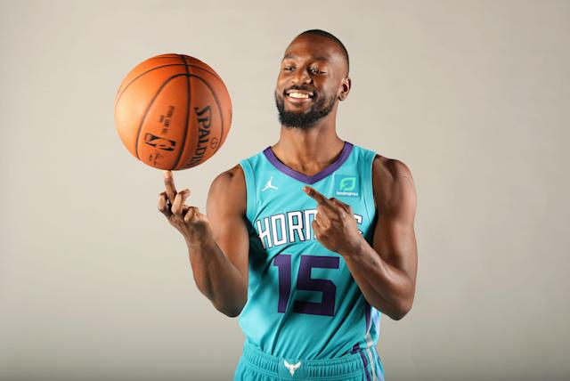 """<p>Cameraman: """"Show me how you really feel about being the subject of trade rumors all summer.""""<br>Kemba Walker: [does this]<br>(Getty Images) </p>"""
