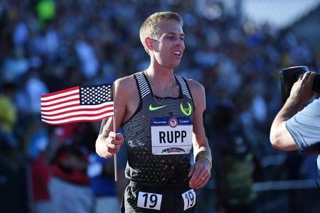FILE PHOTO: Jul 1, 2016; Eugene, OR, USA; Galen Rupp reacts after winning the men's 10,000m final in the 2016 U.S. Olympic track and field team trials at Hayward Field. Mandatory Credit: James Lang-USA TODAY Sports / Reuters Picture Supplied by Action Images/File Photo