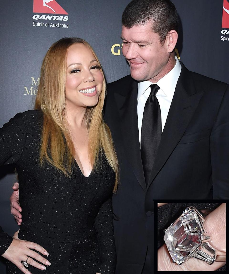 """<p>Australian billionaire James Packer proposed to Mariah Carey in early 2016 with <a rel=""""nofollow noopener"""" href=""""http://www.instyle.com/news/mariah-carey-engagement-ring-photo-fiance-james-packer"""" target=""""_blank"""" data-ylk=""""slk:a whopping 35-carat"""" class=""""link rapid-noclick-resp"""">a whopping 35-carat</a> emerald cut diamond ring.</p>"""
