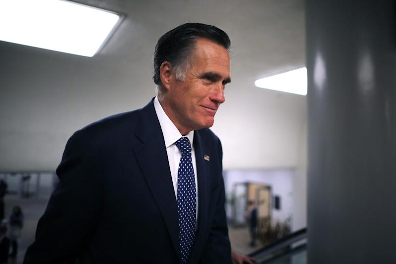 Sen. Mitt Romney, R-Utah, heads to the U.S. Capitol for the weekly Republican policy luncheon in Washington, March 5, 2019.