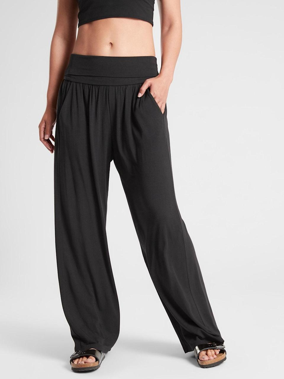 <p>New moms don't often get to pamper themselves, but these supersoft <span>Athleta Studio Wide Leg Pants</span> ($79) are lux and stretchy at the same time, taking her from pregnancy to postpartum with a bit of comfort.</p>