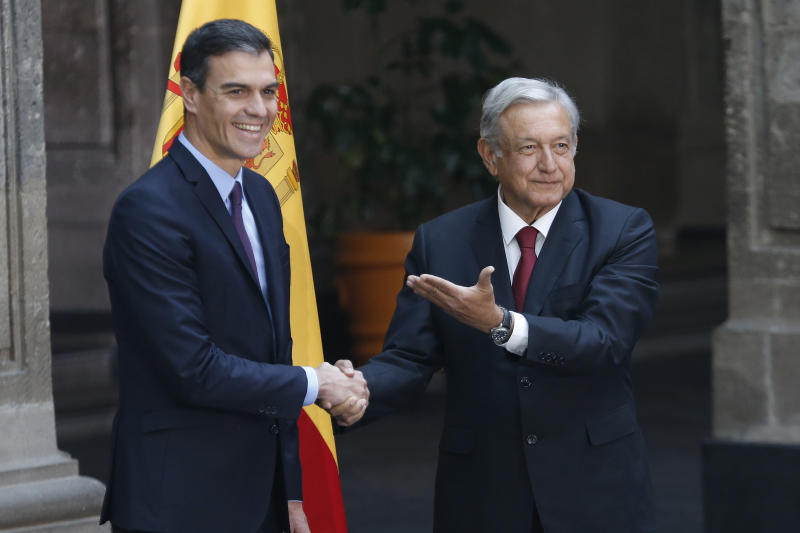 Spain S Prime Minister Pedro Sanchez Left Shakes Hands With Mexican President Andres Manuel Lopez