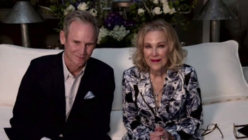 Bo Welch and Catherine O'Hara are seen in this handout screen grab from the 78th Annual Golden Globe Awards in Beverly Hills