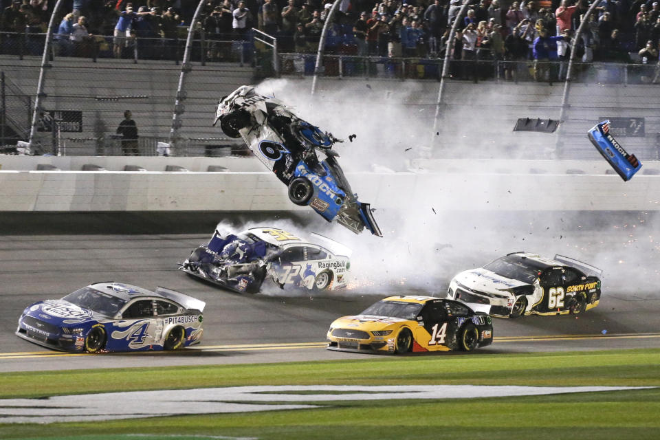 Ryan Newman (6) goes airborne as he collided with Corey LaJoie (32) on the final lap of the Daytona 500 on Monday. Sunday's race was postponed because of rain. (AP Photo/Terry Renna)
