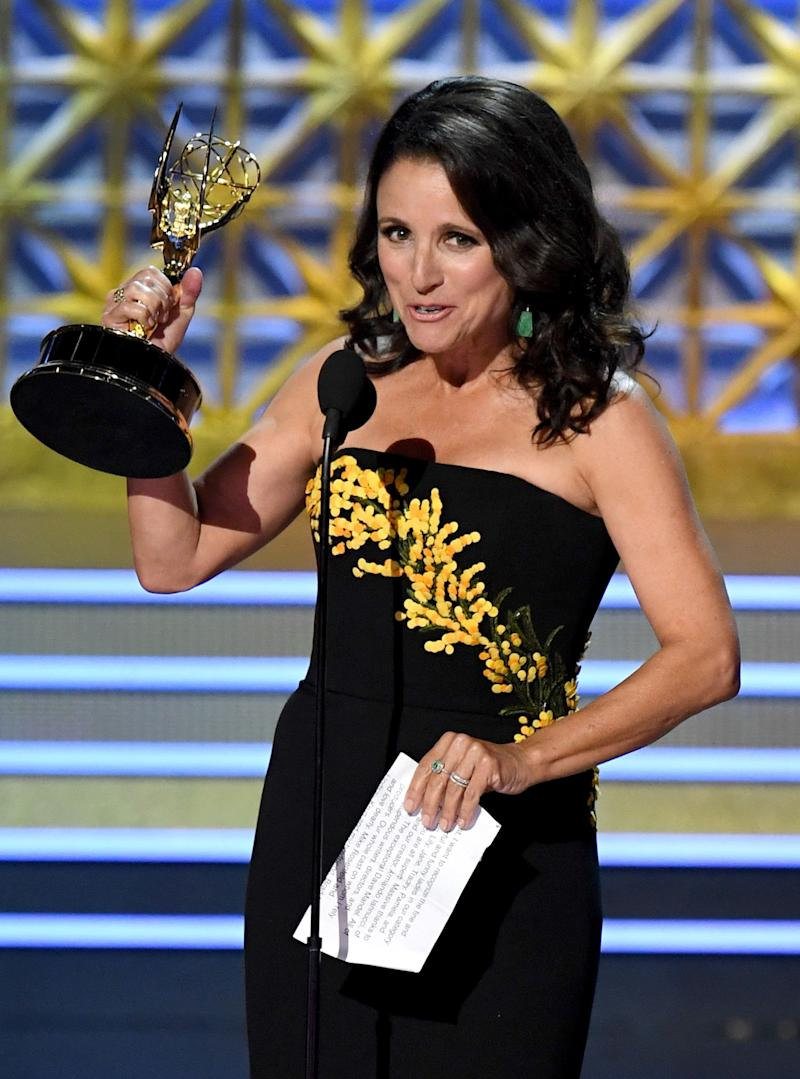 "Actor Julia Louis-Dreyfus accepts Outstanding Lead Actress in a Comedy Series for ""Veep"" onstage during the 69th Annual Primetime Emmy Awards at Microsoft Theater on Sept. 17, 2017 in Los Angeles, California."