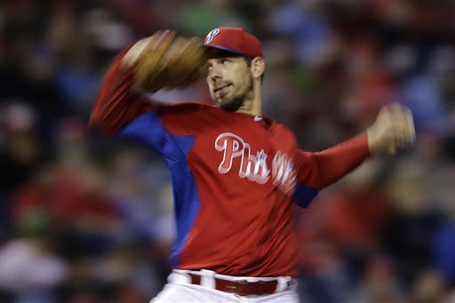 Philadelphia Phillies' Cliff Lee pitches during the third inning of an exhibition baseball game against the Toronto Blue Jays, Friday, March 29, 2013, in Philadelphia. (AP Photo/Matt Slocum)