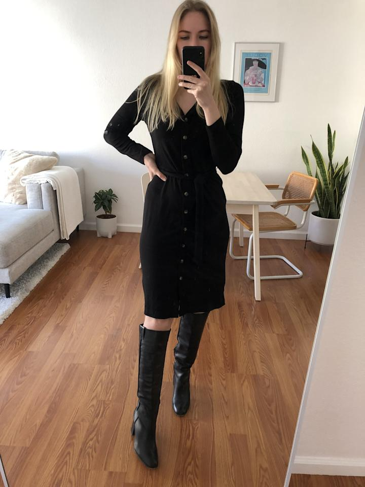 """<p>I love wearing the <a href=""""https://www.popsugar.com/buy/Banana-Republic-Ribbed-Button-Down-Dress-540269?p_name=Banana%20Republic%20Ribbed%20Button-Down%20Dress&retailer=bananarepublic.gap.com&pid=540269&price=99&evar1=fab%3Auk&evar9=47110375&evar98=https%3A%2F%2Fwww.popsugar.com%2Ffashion%2Fphoto-gallery%2F47110375%2Fimage%2F47110379%2FStyled-With-knee-high-boots&list1=shopping%2Cbanana%20republic%2Cdresses%2Ceditors%20pick%2Cwinter%20fashion%2Cfashion%20shopping&prop13=api&pdata=1"""" rel=""""nofollow"""" data-shoppable-link=""""1"""" target=""""_blank"""" class=""""ga-track"""" data-ga-category=""""Related"""" data-ga-label=""""https://bananarepublic.gap.com/browse/product.do?pid=536606012&amp;cid=1095082&amp;pcid=69883&amp;vid=1&amp;grid=pds_35_783_1#pdp-page-content"""" data-ga-action=""""In-Line Links"""">Banana Republic Ribbed Button-Down Dress</a> ($99) with my favorite <a href=""""https://www.popsugar.com/buy/knee-high-boots-540285?p_name=knee-high%20boots&retailer=amazon.com&pid=540285&price=178&evar1=fab%3Auk&evar9=47110375&evar98=https%3A%2F%2Fwww.popsugar.com%2Ffashion%2Fphoto-gallery%2F47110375%2Fimage%2F47110379%2FStyled-With-knee-high-boots&list1=shopping%2Cbanana%20republic%2Cdresses%2Ceditors%20pick%2Cwinter%20fashion%2Cfashion%20shopping&prop13=api&pdata=1"""" rel=""""nofollow"""" data-shoppable-link=""""1"""" target=""""_blank"""" class=""""ga-track"""" data-ga-category=""""Related"""" data-ga-label=""""https://www.amazon.com/Sam-Edelman-Womens-Hutton-Leather/dp/B07BV5MRVV/ref=asc_df_B07BV5MRVV/?tag=hyprod-20&amp;linkCode=df0&amp;hvadid=312802722213&amp;hvpos=1o7&amp;hvnetw=g&amp;hvrand=2051305598303585507&amp;hvpone=&amp;hvptwo=&amp;hvqmt=&amp;hvdev=c&amp;hvdvcmdl=&amp;hvlocint=&amp;hvlocphy=9031953&amp;hvtargid=pla-571120876065&amp;psc=1&amp;tag=&amp;ref=&amp;adgrpid=67729258052&amp;hvpone=&amp;hvptwo=&amp;hvadid=312802722213&amp;hvpos=1o7&amp;hvnetw=g&amp;hvrand=2051305598303585507&amp;hvqmt=&amp;hvdev=c&amp;hvdvcmdl=&amp;hvlocint=&amp;hvlocphy=9031953&amp;hvtargid=pla-571120876065"""" data-ga-action=""""In-Line Links"""">knee-high"""