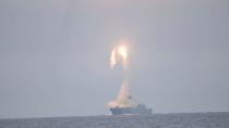 Tsirkon (Zircon) hypersonic cruise missile is launched from the Russian guided missile frigate Admiral Gorshkov during a test in the White Sea