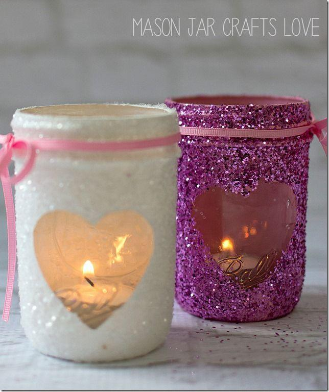 """<p>Use these glittery votives as a decoration around your home for Valentine's Day or a sparkling gift for your friends and family.</p><p><strong>Get the tutorial at <a href=""""https://masonjarcraftslove.com/valentine-glitter-votives/"""" rel=""""nofollow noopener"""" target=""""_blank"""" data-ylk=""""slk:Mason Jar Crafts Love"""" class=""""link rapid-noclick-resp"""">Mason Jar Crafts Love</a>.</strong></p><p><strong><a class=""""link rapid-noclick-resp"""" href=""""https://www.amazon.com/Ball-60000-Regular-Mouth-Mason/dp/B00B80TJXU/?tag=syn-yahoo-20&ascsubtag=%5Bartid%7C10050.g.93%5Bsrc%7Cyahoo-us"""" rel=""""nofollow noopener"""" target=""""_blank"""" data-ylk=""""slk:SHOP HALF PINT MASON JARS"""">SHOP HALF PINT MASON JARS</a><br></strong></p>"""