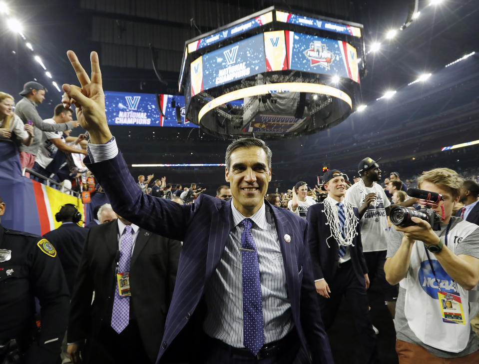 FILE - Villanova head coach Jay Wright celebrates after the NCAA Final Four tournament college basketball championship game against North Carolina, Monday, April 4, 2016, in Houston. Wright is among those announced Sunday, May 16, 2021 as the 2021 class for the Naismith Memorial Basketball Hall of Fame. (AP Photo/David J. Phillip, file)