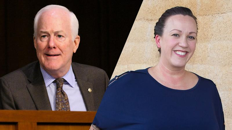 U.S. Sen. John Cornyn (R-TX)/MJ Hegar (Bonnie Cash-Pool/Getty Images; Suzanne Cordeiro/AFP via Getty Images)
