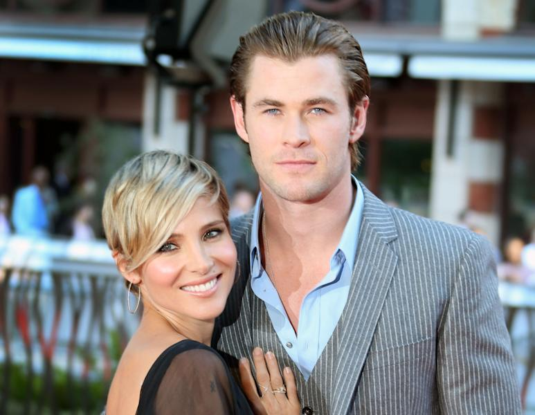 """FILE - This Sept. 2, 2013 file photo shows Spanish actress Elsa Pataky , left, and her husband, Australian Chris Hemsworth at the World Premiere of """"Rush"""" at a central London cinema in Leicester Square. Hemsworth's publicist confirmed Wednesday, Nov. 20, that the couple are expecting their second child. They already have a daughter named India, who is 18 months. (Photo by Joel Ryan/Invision/AP, File)"""