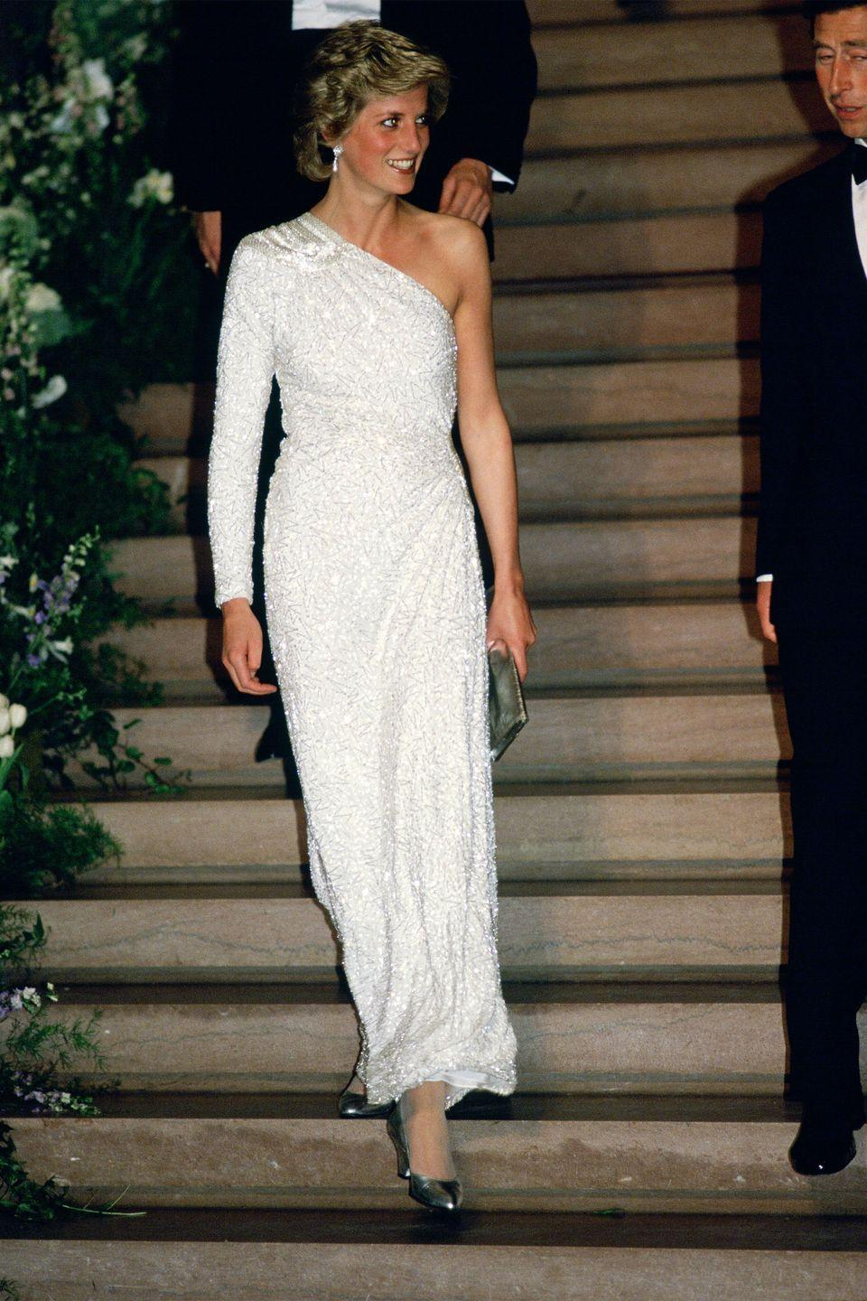 <p>In a white sequin gown by Hachi at a dinner at the National Gallery in Washington, D.C. </p>