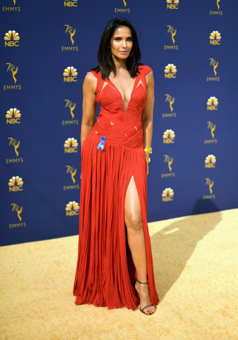 LOS ANGELES, CA - SEPTEMBER 17: Padma Lakshmi attends the 70th Emmy Awards at Microsoft Theater on September 17, 2018 in Los Angeles, California.