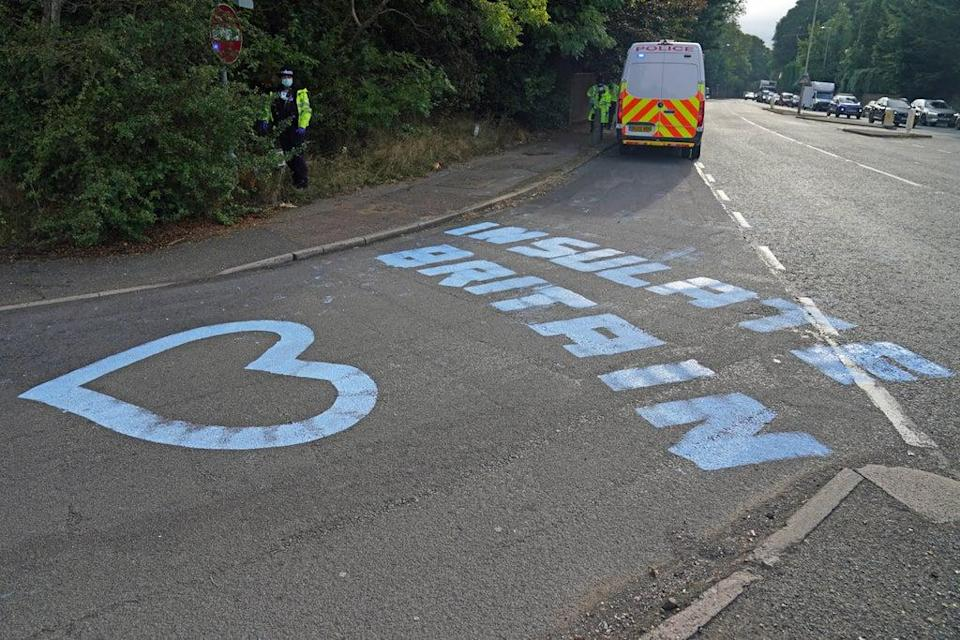 Paint on a slip road at Junction 18 of the M25, near Rickmansworth, where climate protesters carried out a further action after demonstrations which took place last week (Steve Parsons/PA) (PA Wire)