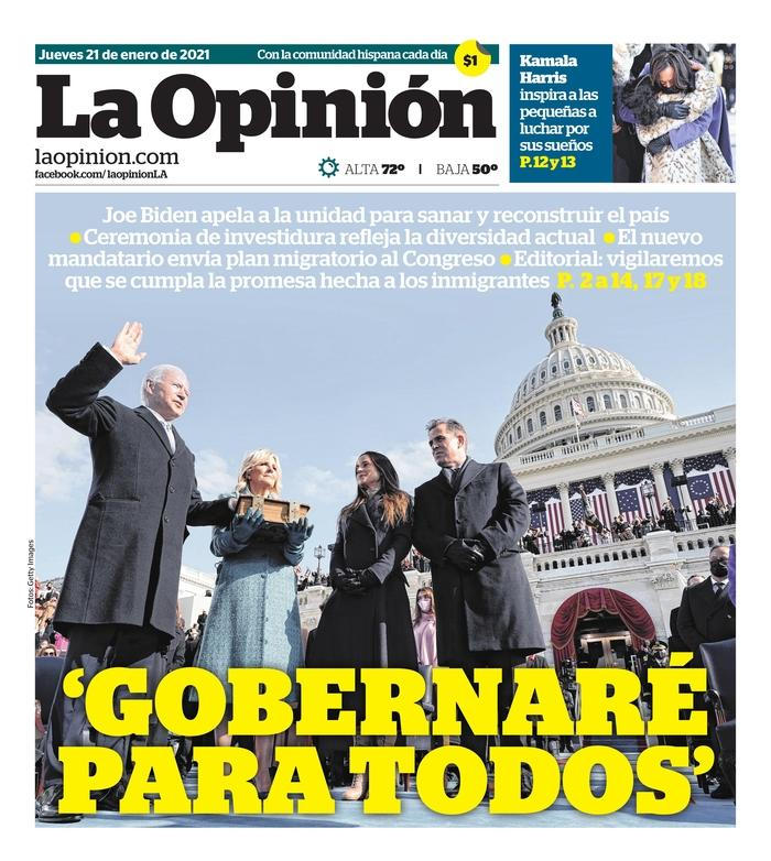 January 21, 2021 front page of La Opinion