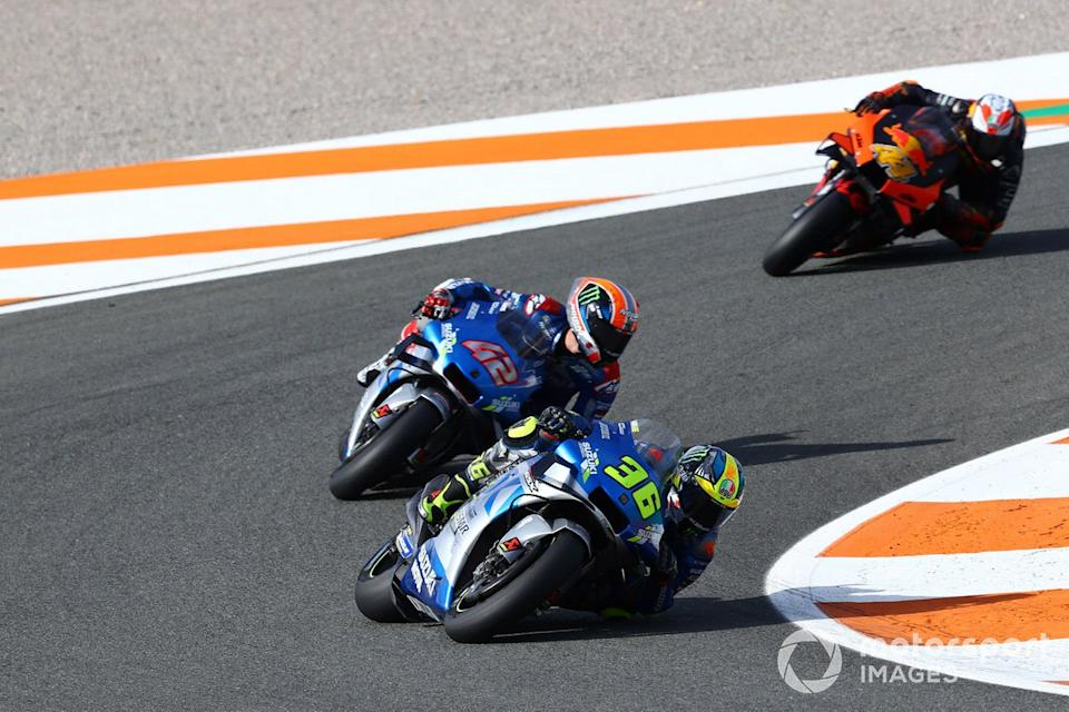 "Joan Mir, Team Suzuki MotoGP, Alex Rins, Team Suzuki MotoGP, Pol Espargaró, Red Bull KTM Factory Racing<span class=""copyright"">Gold and Goose / Motorsport Images</span>"
