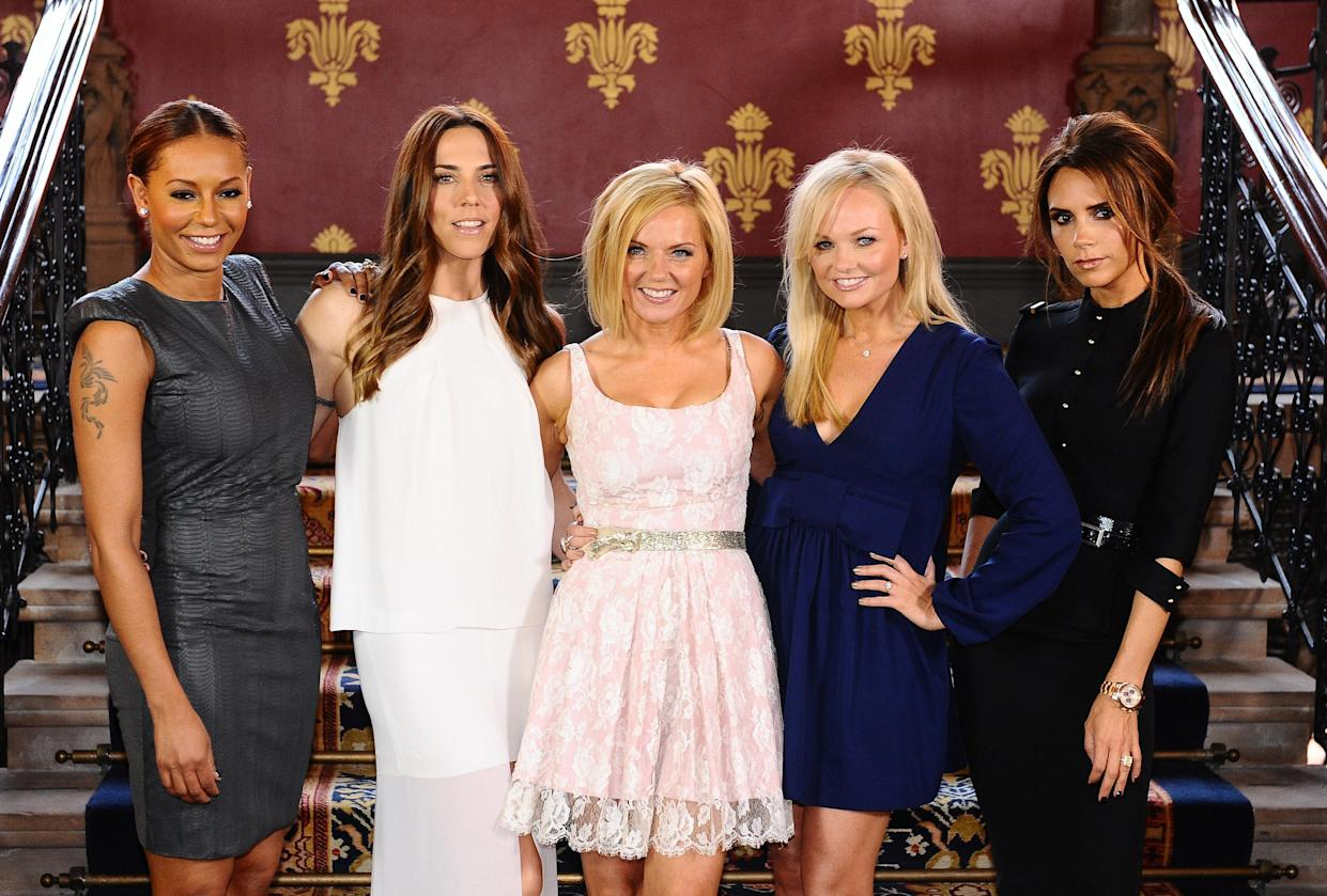 The Spice Girls (from left to right) Melanie Brown (Mel B), Melanie Chisholm (Mel C), Geri Halliwell, Emma Bunton and Victoria Beckham during a photocall at the St Pancras Renaissance Hotel in London to launch Viva Forever, a musical featuring songs from the Spice Girls, which will opens at the Piccadilly Theatre on the 11th December 2012.   (Photo by Ian West/PA Images via Getty Images)