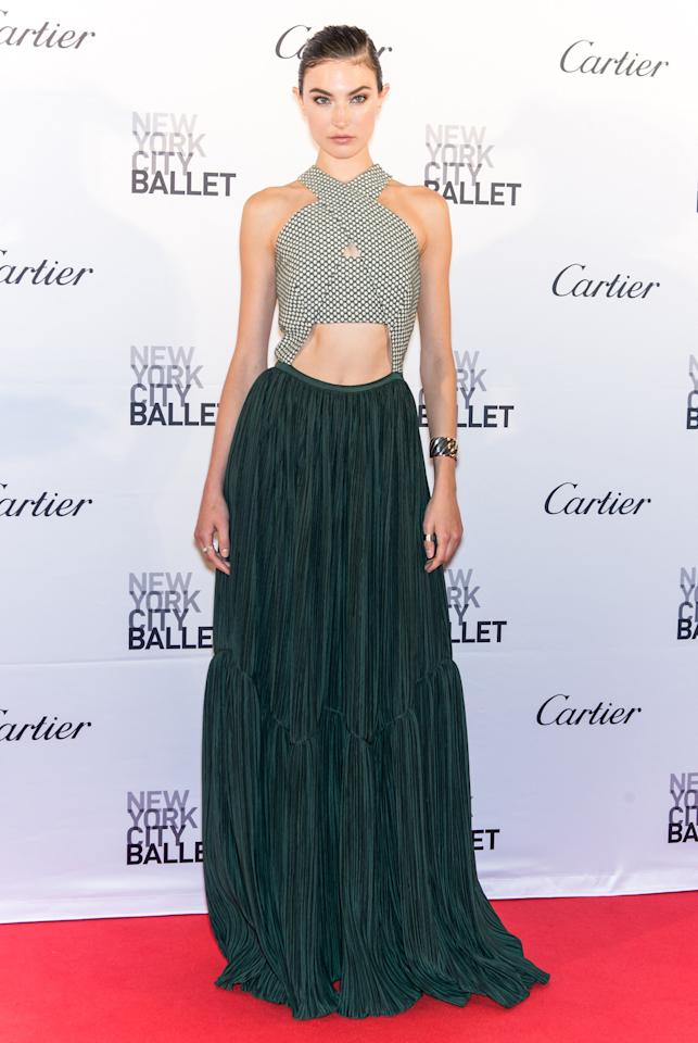 <p>The model looked fierce in an ab-bearing dress (that looked more like a long skirt and crop top) by Adeam. (Getty Images) </p>