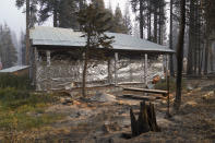 FILE - In this Sept. 2, 2021 file photo cabin partially covered in fire-resistant material stands next to properties destroyed in the Caldor Fire in Twin Bridges, Calif. Aluminum wraps designed to protect homes from flames are getting attention as wildfires burn in California. (AP Photo/Jae C. Hong,File)