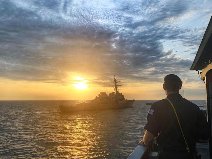 US Navy destroyer USS Ross in the Black Sea