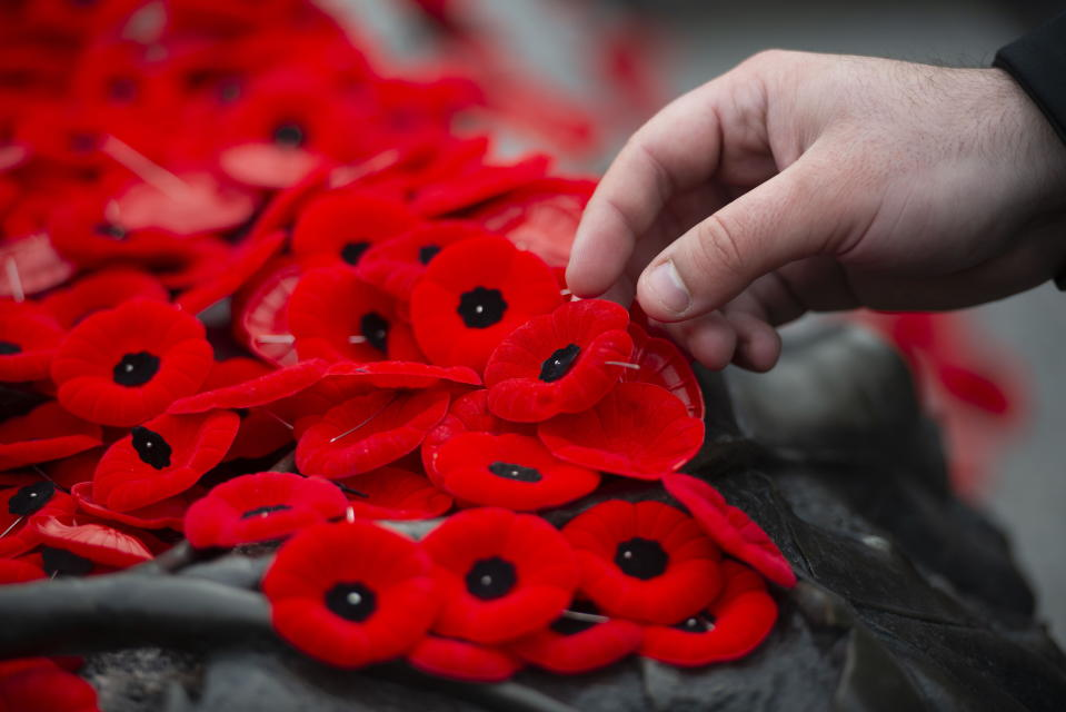 A poppy is placed on the Tomb of The Unknown Soldier following a Remembrance Day ceremony at the National War Memorial in Ottawa on Monday Nov. 11, 2019. THE CANADIAN PRESS/Sean Kilpatrick