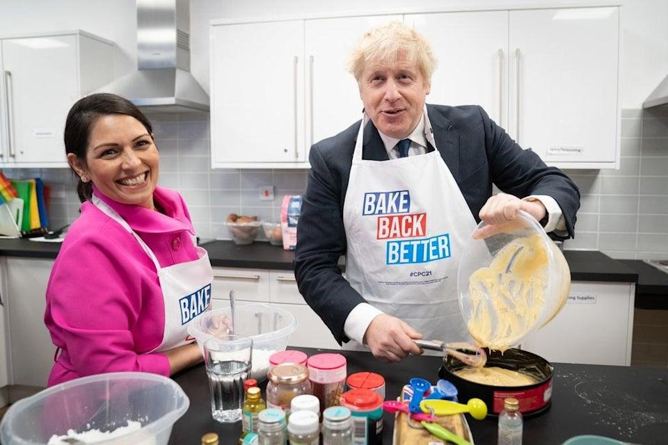 Home Secretary Priti Patel and Prime Minister Boris Johnson visited HideOut Youth Zone in Manchester (Stefan Rousseau/PA) (PA Wire)