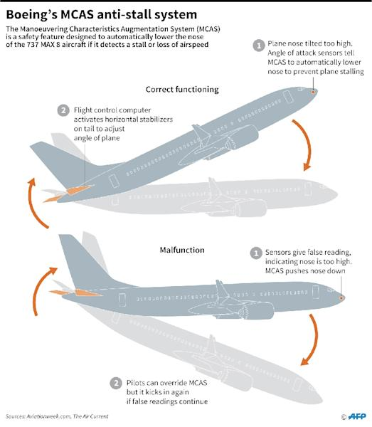 How the MCAS anti-stall system on the Boeing 737 MAX 8 works and what can happen if there is a malfuction (AFP Photo/Gillian HANDYSIDE)