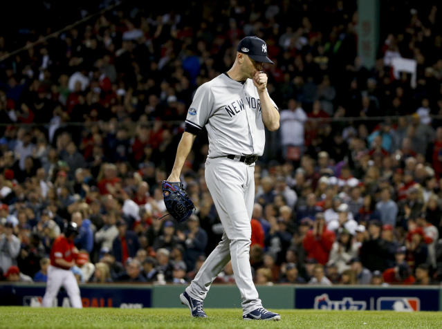 New York Yankees starting pitcher J.A. Happ leaves during the third inning against the Boston Red Sox in Game 1 of a baseball American League Division Series on Friday, Oct. 5, 2018, in Boston. (AP Photo/Elise Amendola)