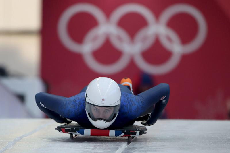 British athlete Laura Deas during a women's skeleton training run in Pyeongchang ahead of the opening of the 2018 Winter Olympics. (Tim Clayton - Corbis via Getty Images)