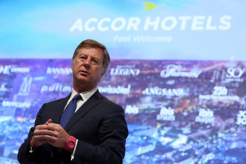 Sebastien Bazin, Chairman and CEO of French hotel operator AccorHotels, attends the company's 2017 annual results presentation in Issy-les-Moulineaux near Paris