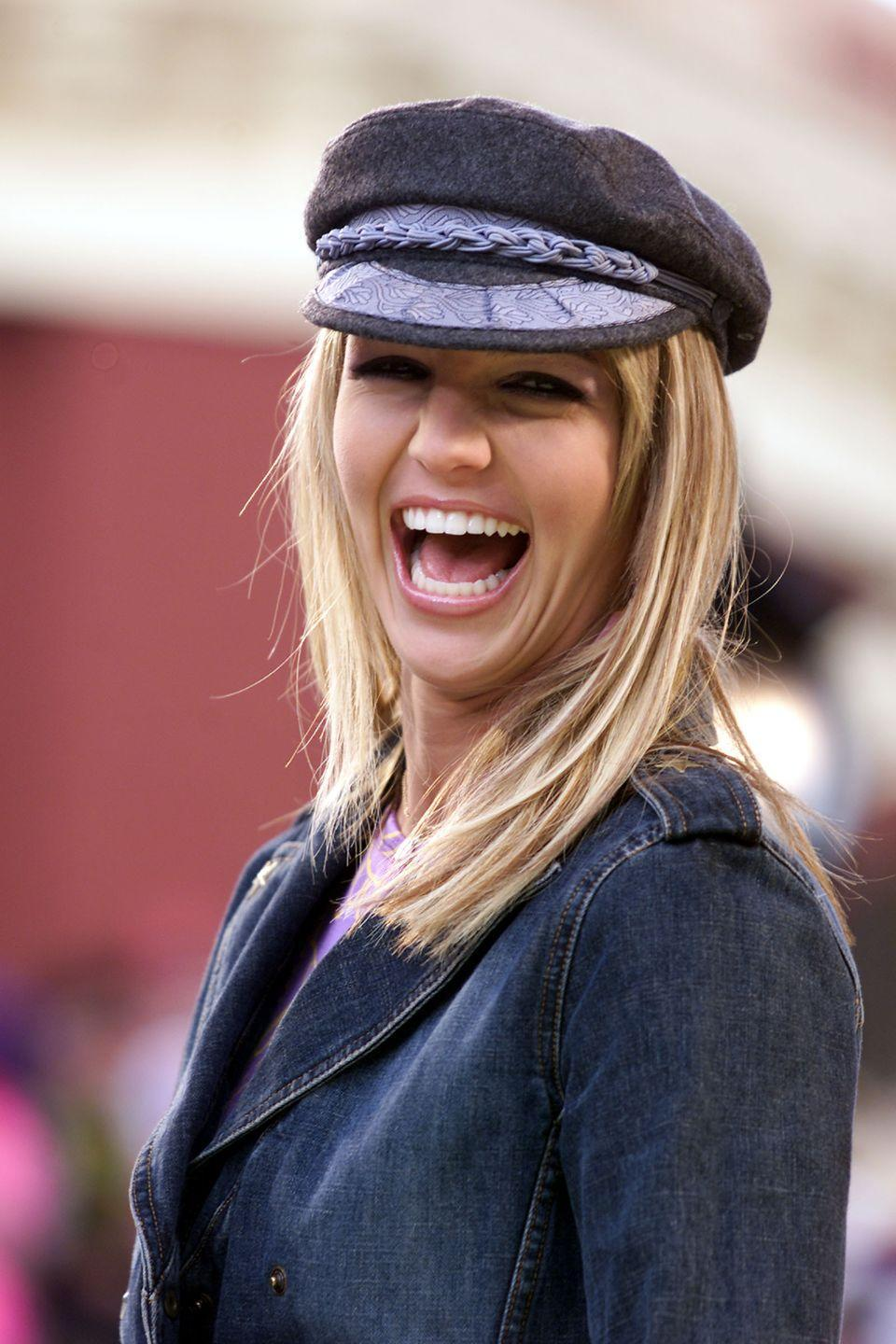 <p>Britney loves a good newsboy cap. It looks especially chic paired with a coordinating denim blazer. </p>