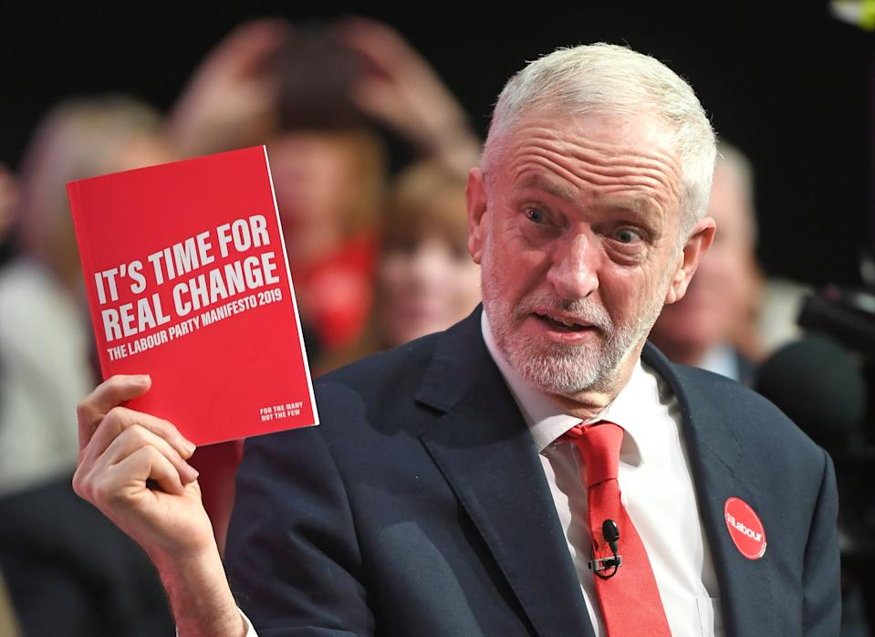 Labour Party leader Jeremy Corbyn during the launch of his party's manifesto in Birmingham. (Photo by Joe Giddens/PA Images via Getty Images)