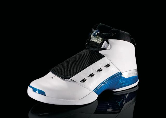 "<p>Air Jordan XVII - ""Jazzed Up"" (2002): Packaged in a metal briefcase and includes a CD-ROM, this is the shoe MJ wore in his return to the court with the Washington Wizzards. The sole's designed is based on a golf course, an homage to Jordan's retirement. (Photo Courtesy of Nike)</p>"