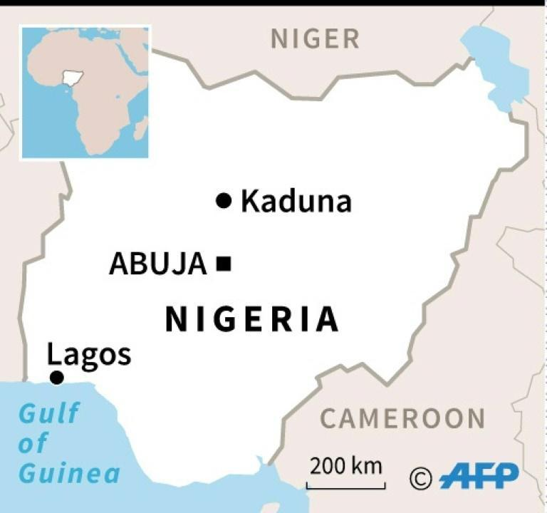 A map of Nigeria locating Kaduna, where a university was attacked