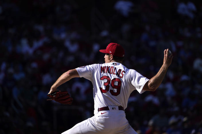St. Louis Cardinals starting pitcher Miles Mikolas throws during the fifth inning of a baseball game against the Los Angeles Dodgers Monday, Sept. 6, 2021, in St. Louis. (AP Photo/Jeff Roberson)